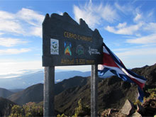 The peak of Cerro Chirripo, the highest mountain of Costa Rica.
