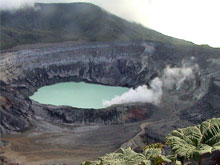 The turquoise crater lake of the Poas Volcano.