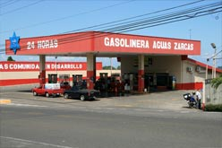 There is a 24 hour gas station in town.