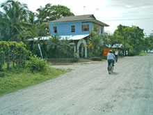 The main road in Cahuita Beach..