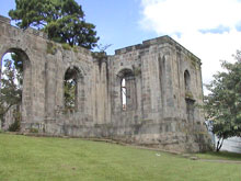 The ruins of the former church.