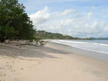 The marvelous white sandy beach of Playa Flamingo.