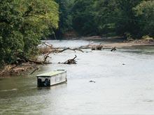 Auf der Höhe des Ortes ist der Rio Sarapiqui ein ruhiger Strom. Weiter südlich ist der Fluss ,mit seinen Stromschnellen, Revier der Wildwasserfahrer.
