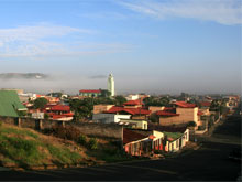 San Ramon im Morgennebel.